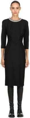 Antonio Marras Embellished Collar Stretch Wool Dress