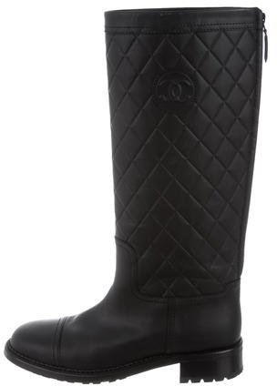 Chanel Quilted Knee-High Boots