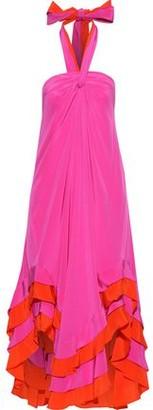 Diane von Furstenberg Sage Asymmetric Ruffled Silk Halterneck Midi Dress