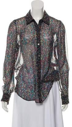 Diane von Furstenberg Mariah Tweed Silk Chiffon Long Sleeve Blouse