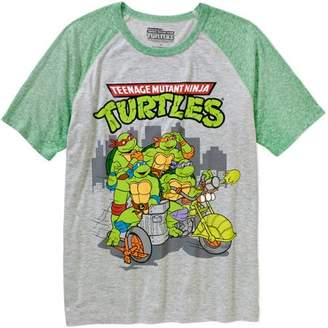 Teenage Mutant Ninja Turtles Group Motorcycle Contrast Raglan Sleeve Men's Graphic T-shirt