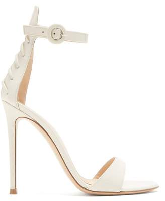 Gianvito Rossi Corset 105 Lace Up Patent Leather Sandals - Womens - White