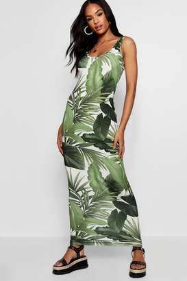 boohoo Tall Caroline Palm Print Maxi Dress