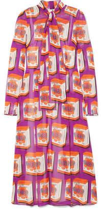 Dolce & Gabbana Pussy-bow Printed Silk-chiffon Midi Dress