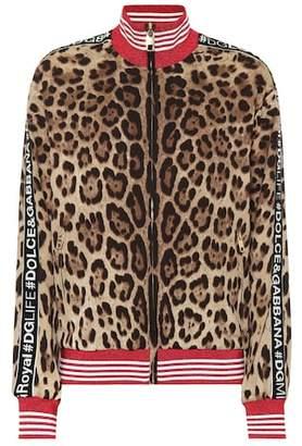 Dolce & Gabbana Leopard stretch silk track jacket