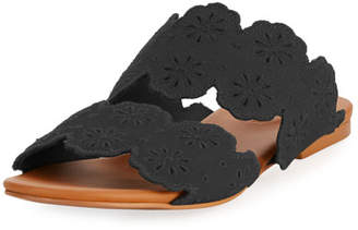 See by Chloe Cutout Floral Flat Two-Band Slide Sandal