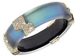 Alexis Bittar 10K Goldplated& Crystal Encrusted Sectioned Hinge Bangle Bracelet