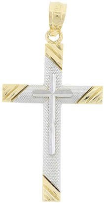 JCPenney FINE JEWELRY Womens 14K Two-Tone Gold Cross Pendant