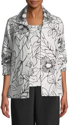 Caroline Rose Frivolous Floral A-line Topper Jacket, Plus Size