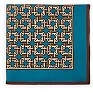 Bigi Men's Abstract-Geometric-Print Pocket Square - Turquoise