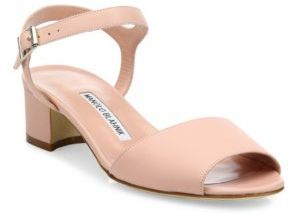 Manolo Blahnik Affian Leather Ankle-Strap Block Heel Sandals $695 thestylecure.com