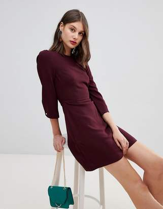 Warehouse 3/4 sleeve shift dress in plum