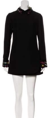 Valentino Feather-Trimmed Wool & Silk-Blend Dress