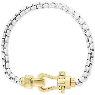 Effy Men's Horseshoe Clasp Box Link Bracelet in Sterling Silver & 18k Gold Plate