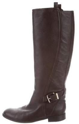 Christian Dior Leather Round-Toe Boots Brown Leather Round-Toe Boots