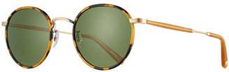 Garrett Leight Wilson Round Monochromatic Sunglasses, Tortoise