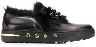 Baldinini beaded fur embellished loafers