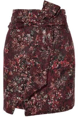 IRO Lace-Up Belted Metallic Jacquard Mini Skirt