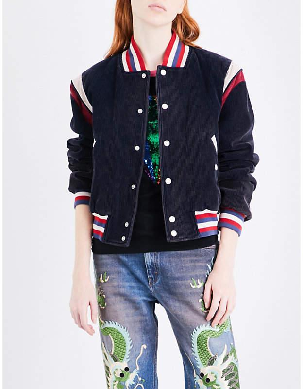 Gucci Ladies Blue Vintage Embroidered Cotton-Corduroy Jacket