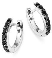 Bloomingdale's Black Diamond Huggie Hoop Earrings in 14K White Gold, 0.20 ct. t.w. - 100% Exclusive