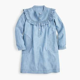 J.Crew Girls' ruffle-trimmed shirtdress in chambray