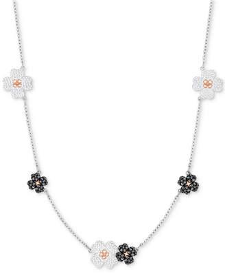 """Swarovski Two-Tone Crystal Flower 11-3/4"""" Choker Necklace"""