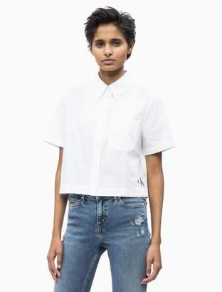 a1d4c80c7d9e5 Calvin Klein Oxford Cotton Cropped Short Sleeve Shirt