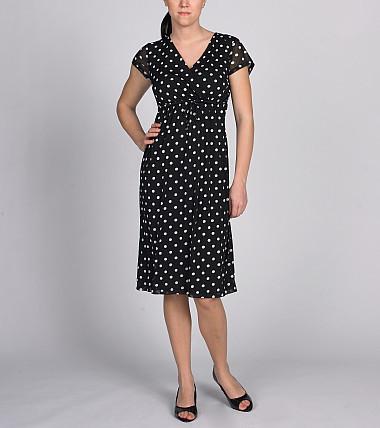 Polka-Dot Printed Mesh Crossover Dress