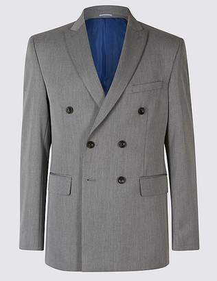 Marks and Spencer Grey Textured Double Breasted Jacket