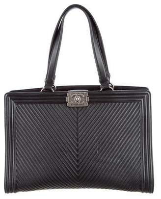 Chanel Chevron Quilted Large Boy Shopping Tote