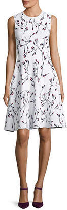 Carolina Herrera Flower Bud Jacquard Fit and Flare Knit Dress