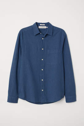 H&M Regular Fit Linen-blend Shirt - Blue
