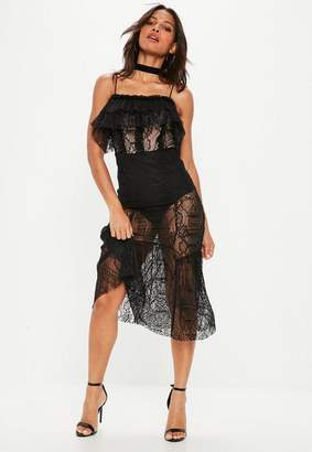 Missguided Black Strappy Lace Insert Midi Dress