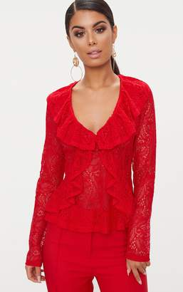 PrettyLittleThing Red Lace Frill Detail Blouse
