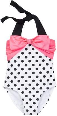 Envya Swimwear Bow Polka Dot One-Piece Swimsuit (Little Girls & Big Girls)