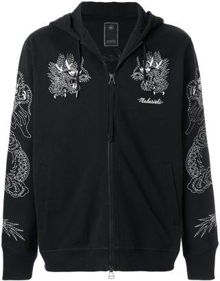 MHI dragon-embroidered zip-up hoodie