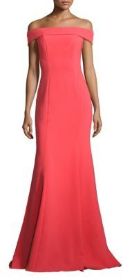 Theia Off-The-Shoulder Crepe Gown $695 thestylecure.com