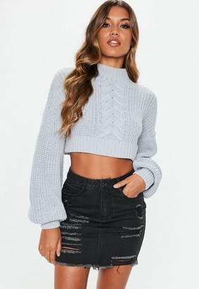 Missguided Black Mini Denim Ripped Skirt