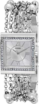 GUESS Women's U0140L1 Faux-Pearl and Crystal-Embellished Silver-Tone Bracelet Watch