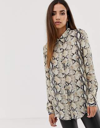 Club L oversized snake georgette shirt