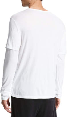 Vince Double-Layer Cotton-Modal Long-Sleeve T-Shirt