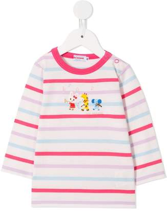 Mikihouse Miki House striped long-sleeve top