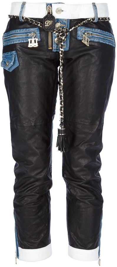 DSquared DSQUARED2 leather panelled cropped jean