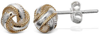 JCPenney STERLING SILVER EARRINGS Two-Tone Rope Trim Love Knot Earrings