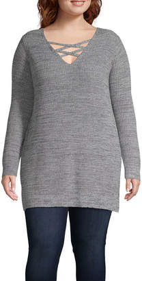 bcebba10f04 at JCPenney · Arizona Long Sleeve V Neck Pullover Sweater-Juniors Plus