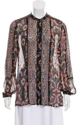 Rebecca Minkoff Silk Printed Button-Up Top