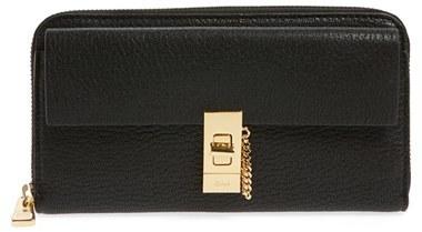 Chloé Women's Chloe 'Drew' Calfskin Leather Zip Around Wallet - Black