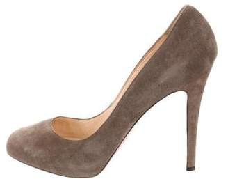 Christian Louboutin Round-Toe Suede Pumps
