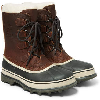 Sorel Caribou Faux Shearling-Trimmed Waterproof Leather And Rubber Snow Boots