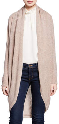 Theory Curved-Hem Open-Front Long Cashmere Cardigan